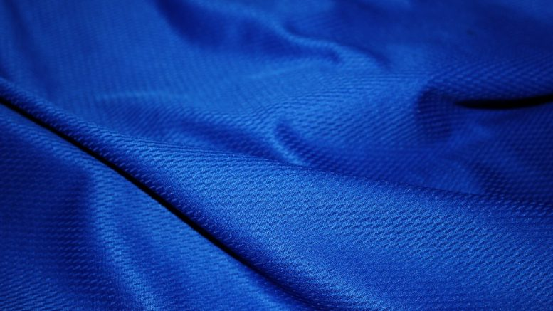 Blue moisture wicking textile